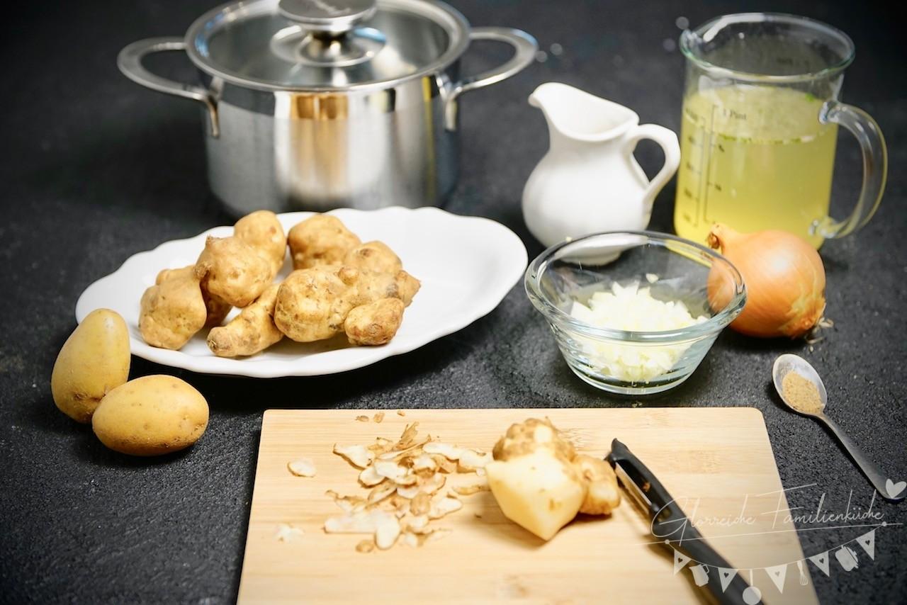 Topinambur-Cremesuppe Zubereitung Glorreiche Familienküche