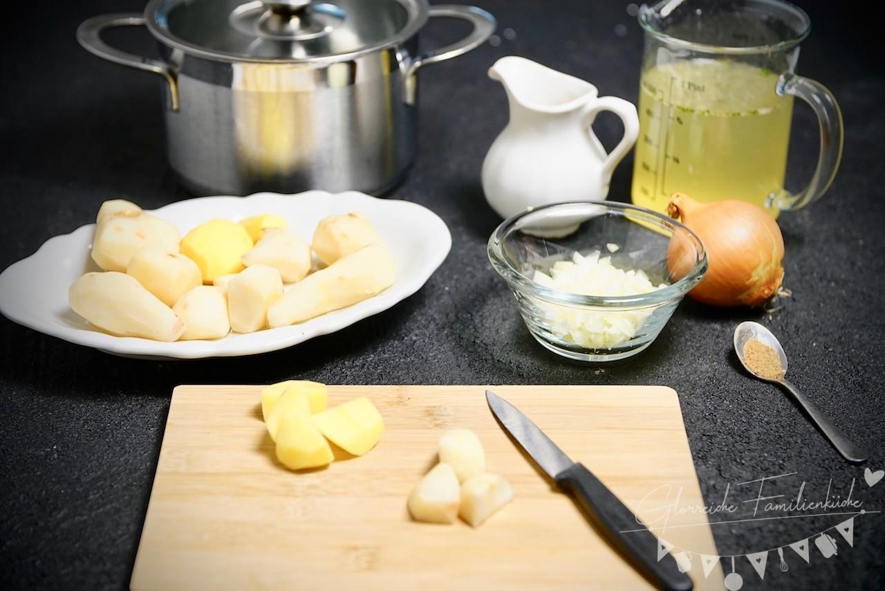 Topinambur-Cremesuppe Zubereitung-Glorreiche Familienküche