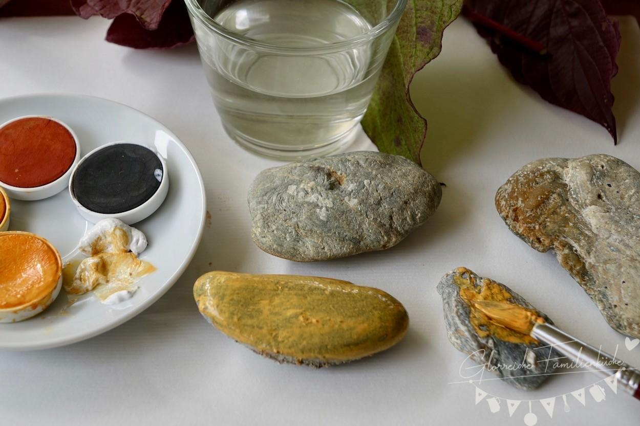 Herbstdeko Anleitung Steine bemalen Glorreiche Familienküche