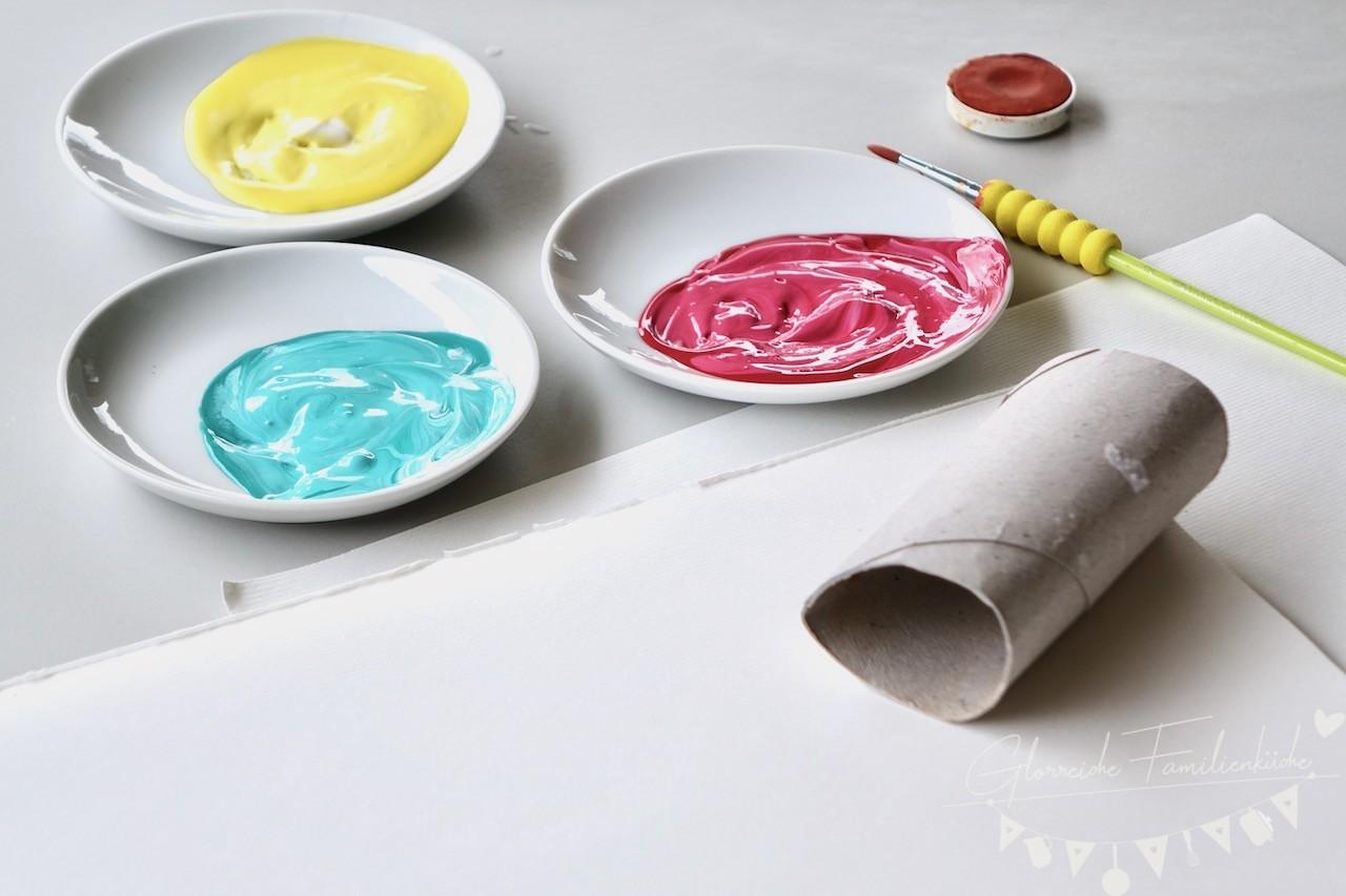 DIY Oster-Stempel mit WC-Rollen Fingerdruck Materialien Glorreiche Familienküchen